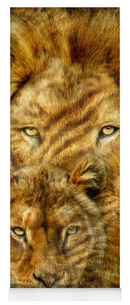 Yoga Mat featuring the mixed media Moods Of Africa - Lions 2 by Carol Cavalaris