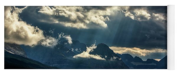Moody Sunrays Over Glacier National Park Yoga Mat