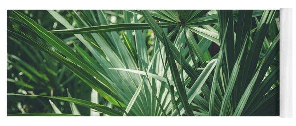 Moody Tropical Leaves Yoga Mat