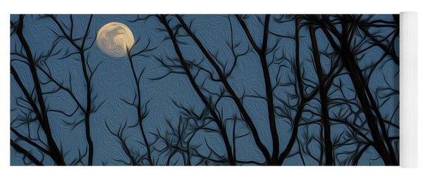 Moon At Dusk Through Trees - Impressionism Yoga Mat