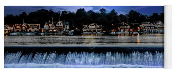 Yoga Mat featuring the photograph Moon Light - Boathouse Row Philadelphia by Bill Cannon