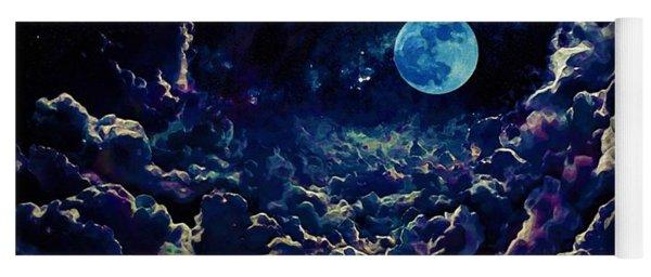 Moon Over Dark Clouds In Watercolor Yoga Mat