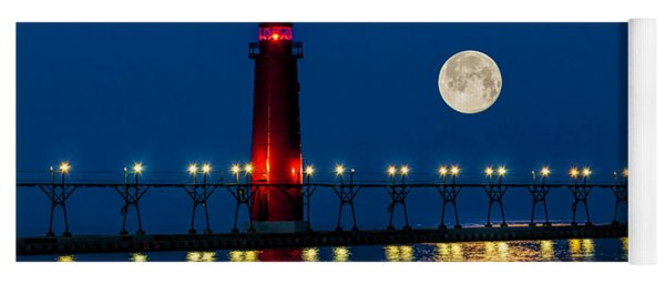 Moon Over Grand Haven Yoga Mat