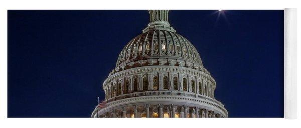 Moon Over The Washington Capitol Building Yoga Mat