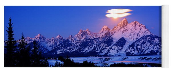 Moon Sets At The Snake River Overlook In The Tetons Yoga Mat