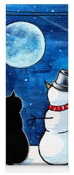 Moon Watching With Snowman - Christmas Cat Yoga Mat
