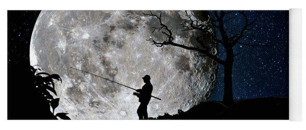 Moonlight Fishing Under The Supermoon At Night Yoga Mat