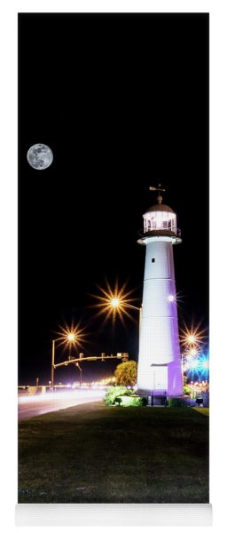 Moonlit Gulf Coast Lighthouse Seascape Biloxi Ms 4256b Yoga Mat