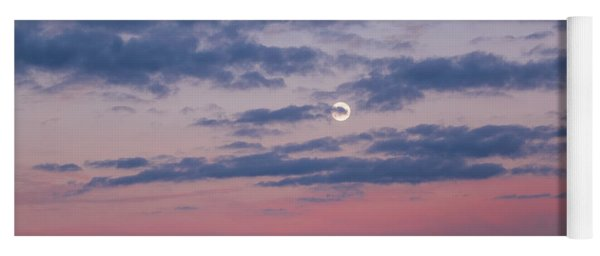 Moonrise In Pink Sky Yoga Mat