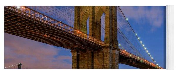 Moonrise Over Brooklyn Bridge Yoga Mat