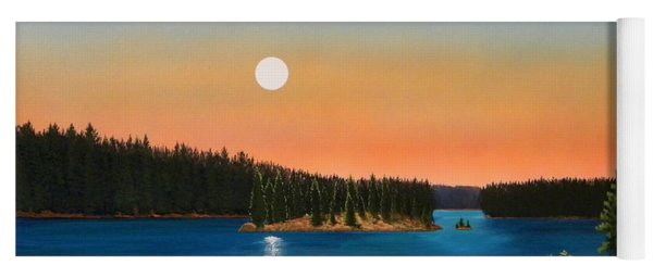 Moonrise Over The Lake Yoga Mat