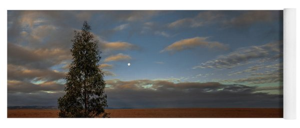 Moonset  In A Large Morning Sky Yoga Mat