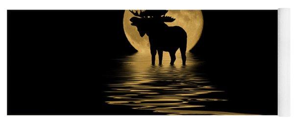 Moose In The Moonlight Yoga Mat