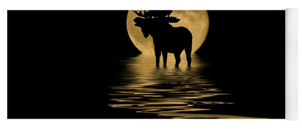 Moose In The Moonlight Yoga Mat