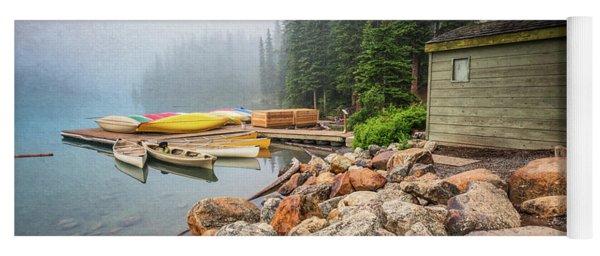 Moraine Lake And Boathouse Yoga Mat
