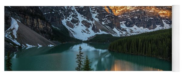 Moraine Lake Golden Sunrise Reflection Yoga Mat