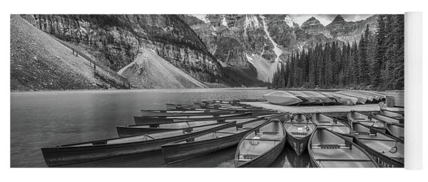 Moraine Lake In Black And White Yoga Mat