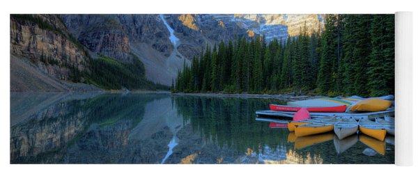 Moraine Lake Sunrise Blue Skies Canoes Yoga Mat