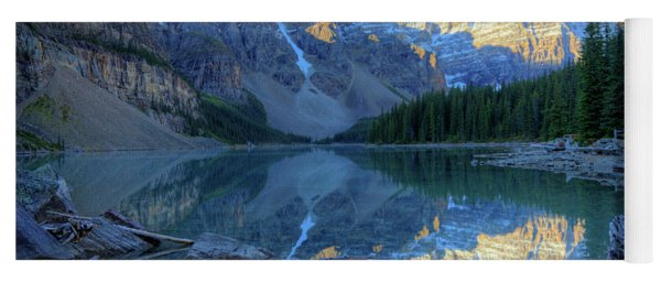 Moraine Lake Sunrise Blue Skies Logs Yoga Mat