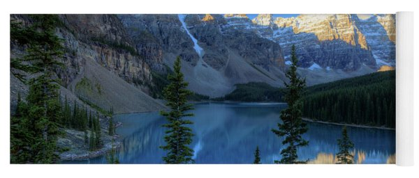 Moraine Lake Sunrise Blue Skies Yoga Mat