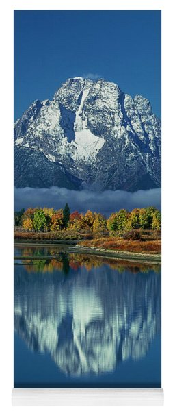 Morning Cloud Layer Oxbow Bend In Fall Grand Tetons National Park Yoga Mat