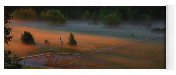 Yoga Mat featuring the photograph Morning Mist Over Dyarna #h7 by Leif Sohlman