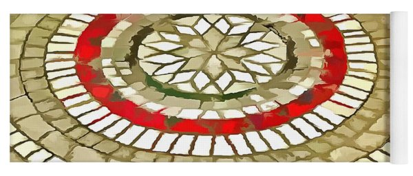 Mosaic Circular Pattern In Red And Gold Yoga Mat