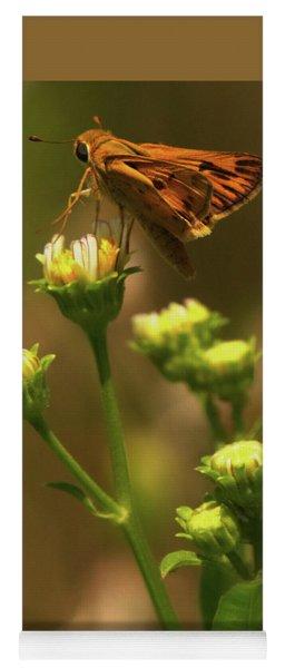 Moth Sitting On Yellow Flower Yoga Mat