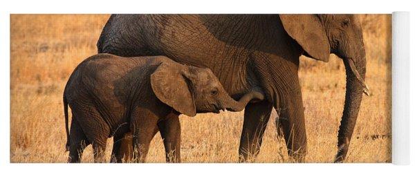 Mother And Baby Elephants Yoga Mat