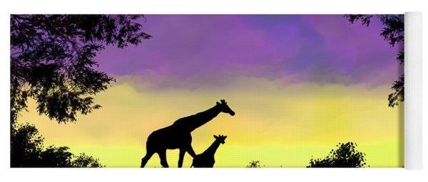 Mother And Baby Giraffe At Sunset Yoga Mat