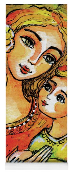 Yoga Mat featuring the painting Mother And Child In Yellow by Eva Campbell