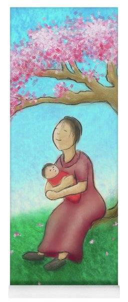 Mother And Child With Cherry Blossoms Yoga Mat