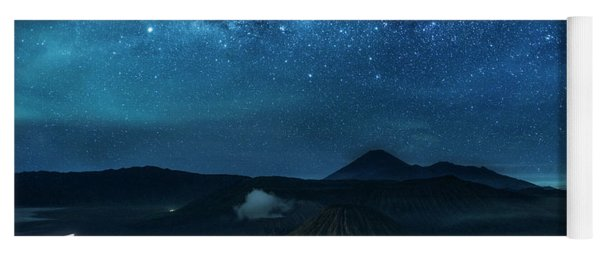 Yoga Mat featuring the photograph Mount Bromo Resting Under Million Stars by Pradeep Raja Prints
