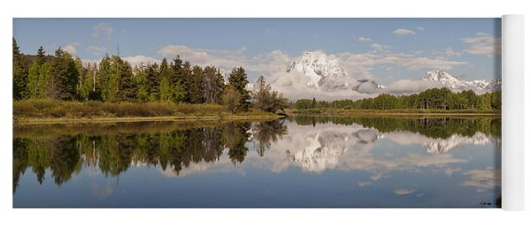Mount Moran On Oxbow Bend Panorama Yoga Mat