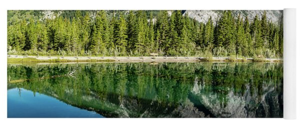 Mount Skogan Reflected In Mount Lorette Ponds, Bow Valley Provin Yoga Mat