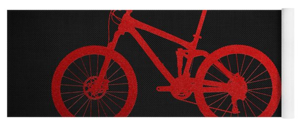 Mountain Bike - Red On Black Yoga Mat