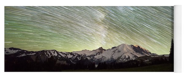 Mountain Rainier Star Trails  Yoga Mat
