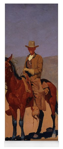 Mounted Cowboy In Chaps With Bay Horse Yoga Mat