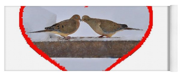 Yoga Mat featuring the photograph Mourning Doves Kissing by Dan Friend