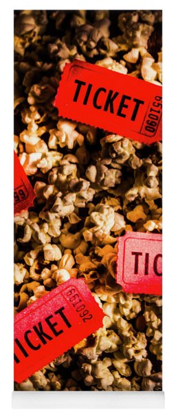 Movie Tickets On Scattered Popcorn Yoga Mat