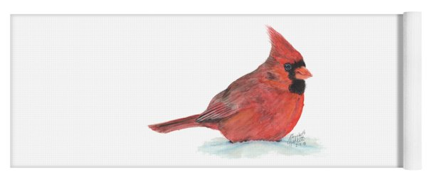 Yoga Mat featuring the painting Mr Cardinal by Betsy Hackett