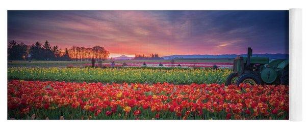 Mt. Hood And Tulip Field At Dawn Yoga Mat