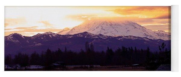 Mt. Rainier On Fire Yoga Mat