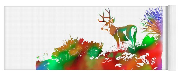 Mule Deer Buck Skyline Drip Pop Art II Yoga Mat