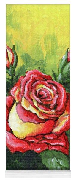 Multi Coloured Rose Sketch Yoga Mat