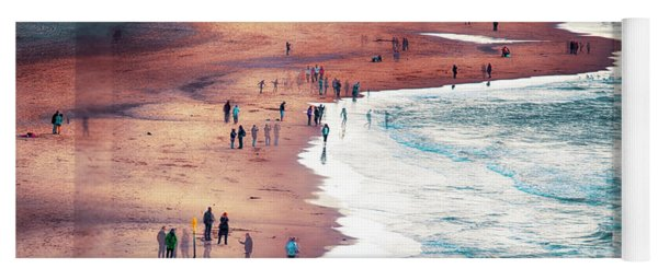 multiple exposure of people on North sea beach  Yoga Mat