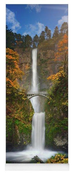 Multnomah Falls In Autumn Colors -panorama Yoga Mat