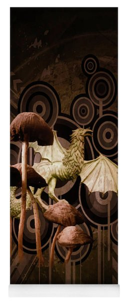 Yoga Mat featuring the digital art Mushroom Dragon by Richard Ricci