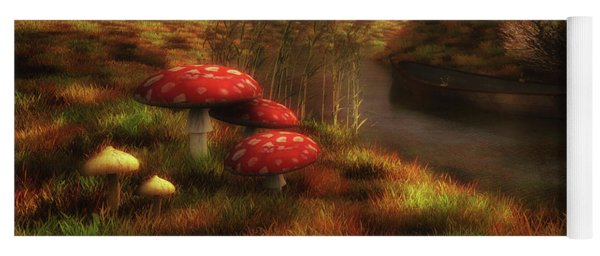 Mushrooms And River Yoga Mat