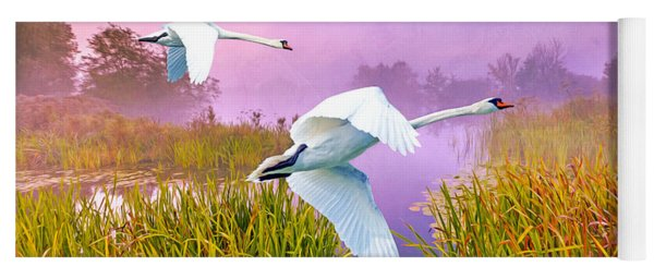 Mute Swans Over Marshes Yoga Mat